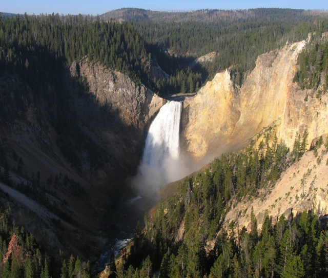 The Lower Falls Of The Yellowstone River In Yellowstone National Park Photographed On September