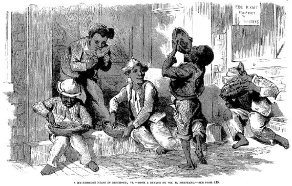 Perhaps the first printed illustration of the racist watermelon trope, c. 1869. (Frank Leslie's Illustrated Newspaper) Two years later, a Georgia news