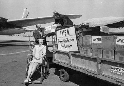 The polio vaccine arrives by plane, packed on dry ice, in 1962.