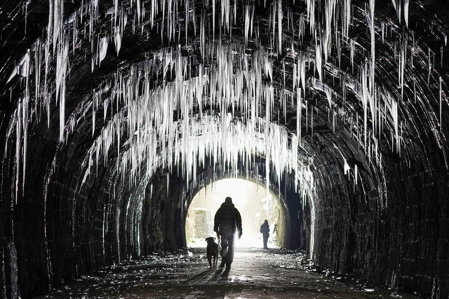 A person walks a dog through a tunnel lined with many large icicles.
