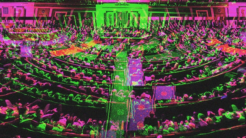 illustration of the House of Representatives in neon colors.