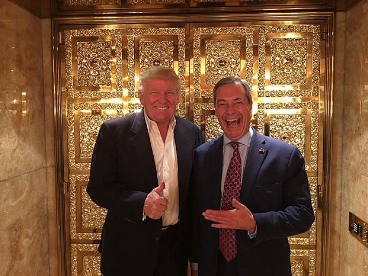 Nigel Farage after Donald Trump's victory, November 2016. Credit: Nige/CC BY