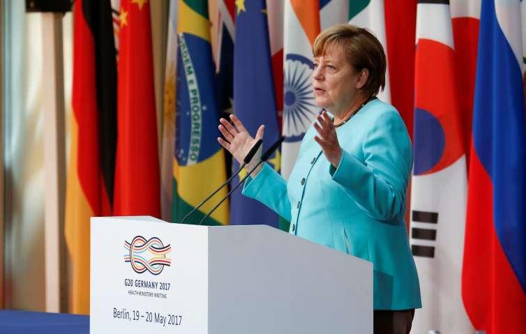 German Chancellor Angela Merkel addresses G20 health ministers in Berlin in May. Credit: Reuters/Fabrizio Bensch