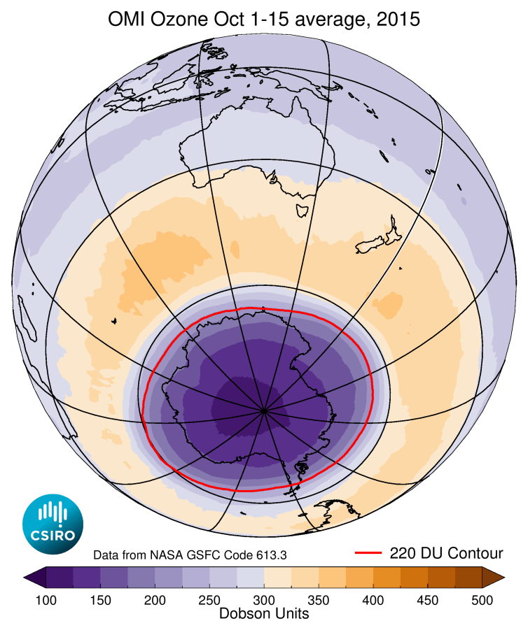 Average ozone concentrations over the southern hemisphere during October 1-15, 2015, when the Antarctic ozone hole for that year was near its maximum extent. The red line shows the boundary of the ozone hole.