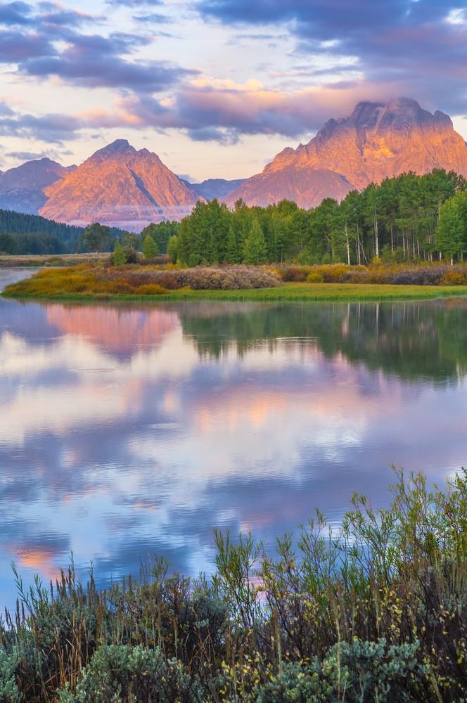 Increíble amanecer en el Parque Nacional Grand Teton