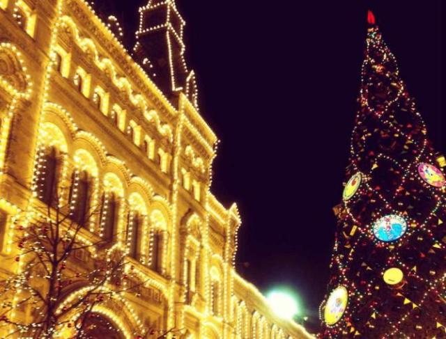 Exterior of Moscow's GUM at Christmas time   Courtesy of Marianna Hunt