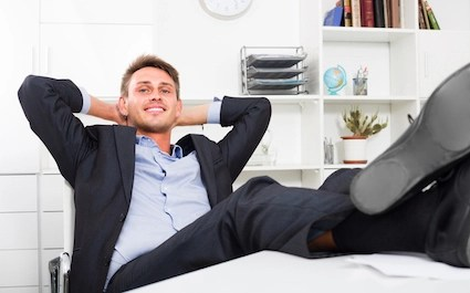 Office worker having lovely day off in office
