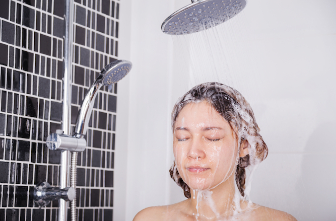 Woman still using separate shampoo and conditioner like an arsehole