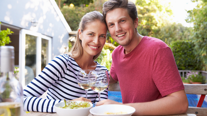 Couple excited to invite friends round for a drink and a piss in their garden