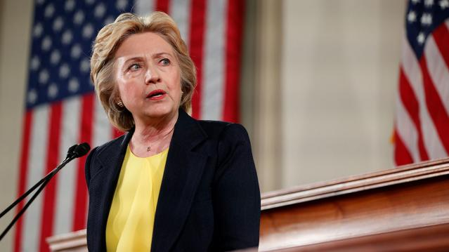 Democratic U.S. presidential candidate Hillary Clinton speaks at the Old State House in Springfield