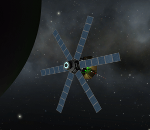 Eve Explorer 1 makes a course correction to establish a polar orbit around Eve.