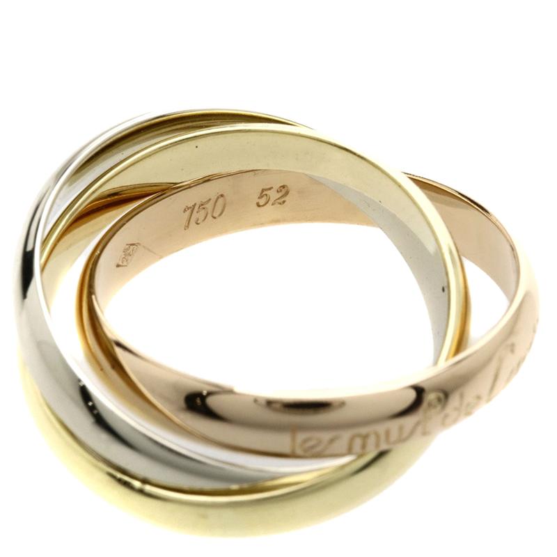 خاتم كارتييه ترينيتي ذهب ثلاثي اللون عيار 18 مقاس 52
