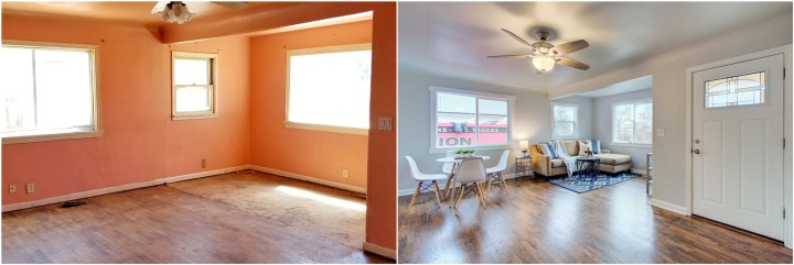 Before and after photos of the living room of a house that's been flipped.