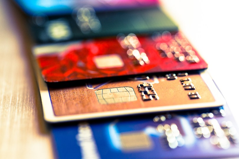 a collection of debit and credit cards