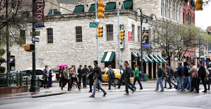SXSW attendees often find walking to be the quickest was to get around during busy times. Photo from Shutterstock