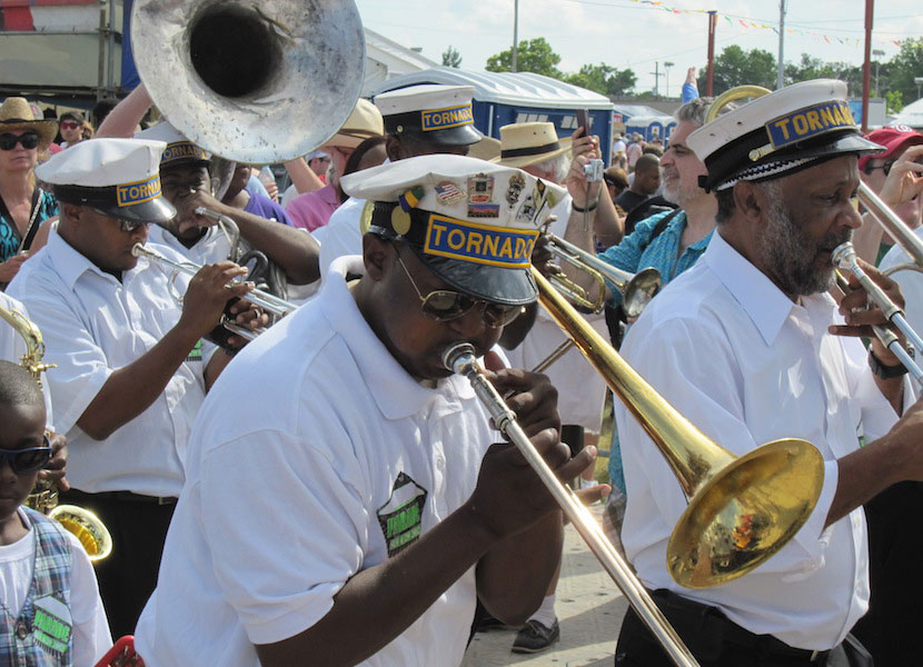A Jazz band plays on the streets of New Orleans.