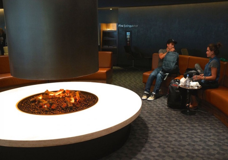 The Oneworld lounge at LAX even has an indoor firepit.