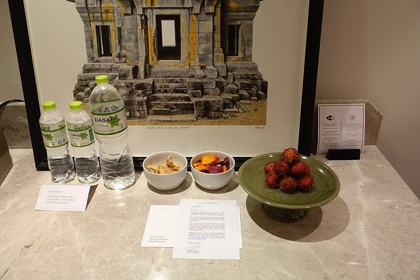 We found plenty of complimentary water bottles, plus fruit and snacks, waiting for us.