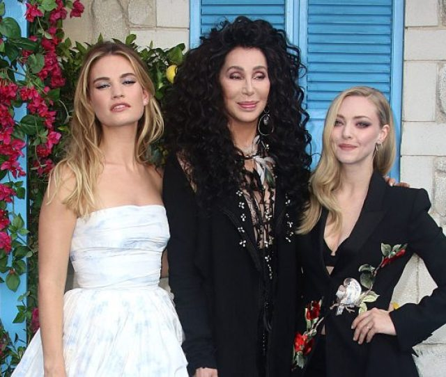 Lily James Cher And Amanda Seyfried At The Mamma Mia Here We Go Again
