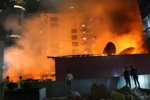 A view from the street after a fire broke out in a building in Mumbai on Friday. Credit: PTI