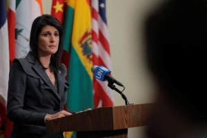 US Ambassador to the United Nations Nikki Haley speaks at UN headquarters in New York, U.S., January 2, 2018. Credit: Reuters/Lucas Jackson