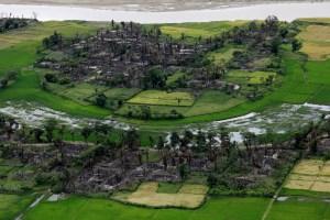 Aerial view of a burned Rohingya village near Maungdaw, north of Rakhine State, Myanmar, September 27, 2017. Credit: Reuters/Soe Zeya Tun