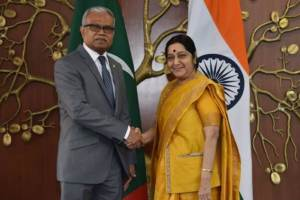 Maldivian Foreign Minister Mohamed Asim with Sushma Swaraj on Thursday. Credit: Twitter/@MEAIndia