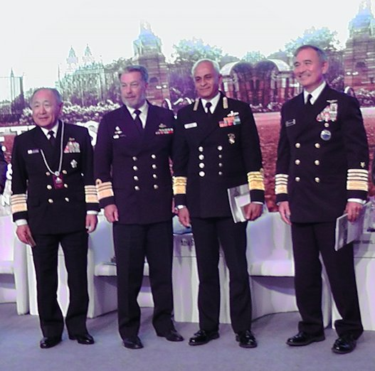 """Navy chiefsfrom the four """"Quad"""" countries – Japan, Australia, India and the US. Credit: Twitter"""
