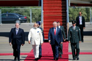 Israeli prime minister Benjamin Netanyahu with Indian prime minister Narendra Modi during an official welcoming ceremony upon his arrival at Israel's Ben Gurion Airport on Tuesday. Reuters