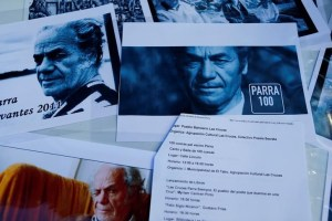 "Images of Nicanor Parra, the Chilean artist and writer who described himself as an ""antipoet,"" are seen during the celebration of his 100th birthday outside his house in Las Cruces coastal town, Chile September 5, 2014. Credit: Reuters/Ivan Alvarado"