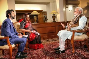 Rahul Shivshankar and Navika Kumar of Times Now interview PM Narendra Modi.