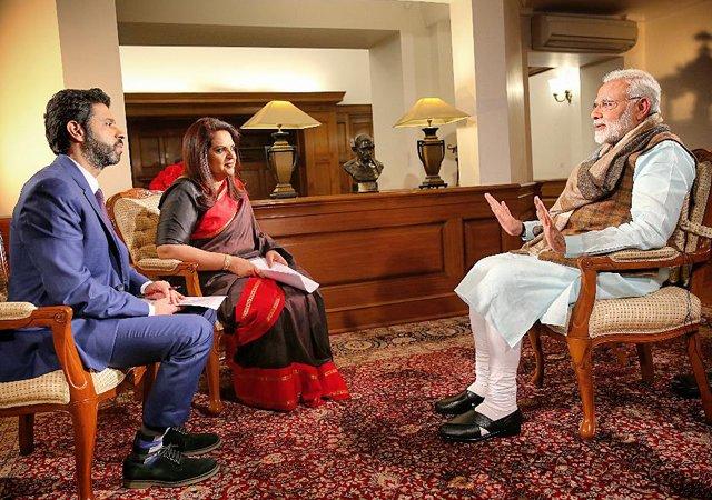 Rahul Shivshankar and Navika Kumar of Times Now interview PM Narendra Modi.