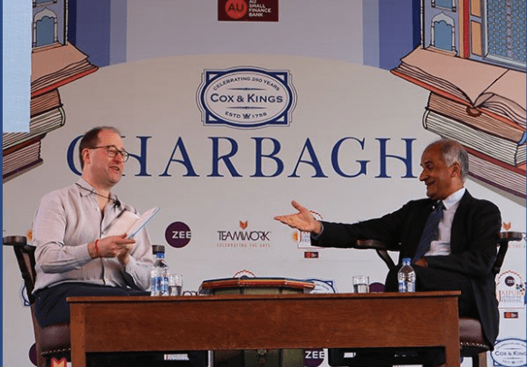 Pico Iyer and Patrick French at the JLF. Credit: Twitter/Zee Jaipur Lit Fest