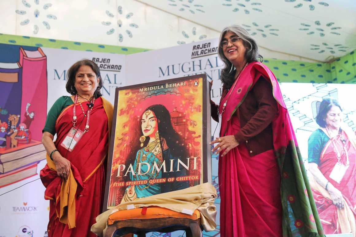 Author Mridula Behari (L) with Rima Hooja at the launch her book 'Padmini: The Spirited Queen of Chittor' during the Jaipur Literature Festival 2018 at Diggi Palace, in Jaipur on Thursday. Credit: PTI