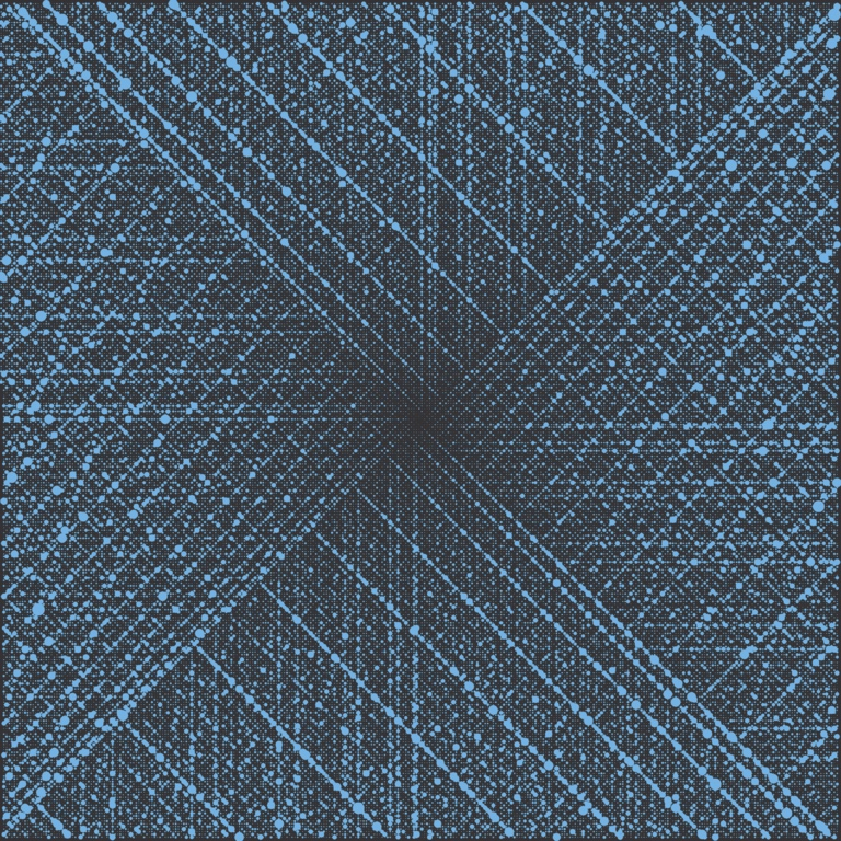 An Ulam spiral of the number of divisors of the first 100,000 natural numbers. Numbers with exactly two divisors – 1 and the number itself – are called prime numbers. Credit: Cortexd/Wikimedia Commons, CC BY-SA 3.0