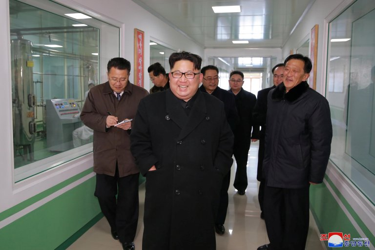 North Korean leader Kim Jong Un gives field guidance at the Pyongyang Pharmaceutical Factory, in this undated photo released by North Korea's Korean Central News Agency (KCNA) in Pyongyang January 25, 2018. Credit: Reuters/KCNA
