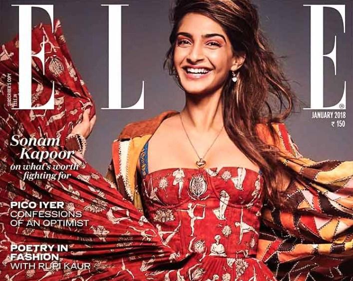 Sonam Kapoor on the cover of <em>Elle</em>.