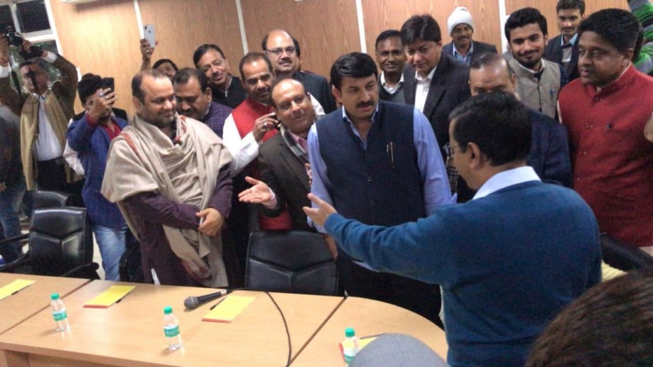 Three BJP MPs, three MLAs and two mayors had come to attend the meeting with AAP MLAs and Kejriwal. Credit: Twitter/AAP