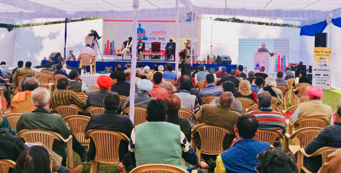At the Parallel Literature Festival in Jaipur. Credit: Twitter/@idnmail
