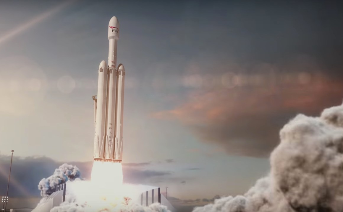 An animation of the Falcon Heavy lifting off. Credit: SpaceX