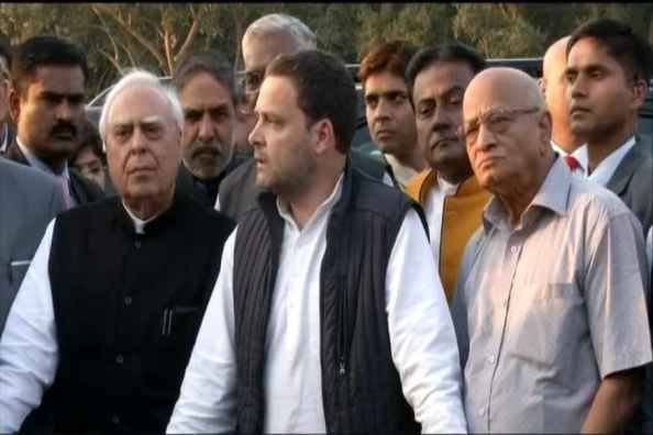 Congress president Rahul Gandhi addressing a press conference after meeting President Ram Nath Kovind with representatives of opposition parties. Credit: ANI