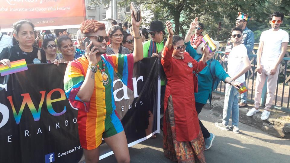 Members of Sweekar marching at Mumbai Pride. Credit: Sonali Verma