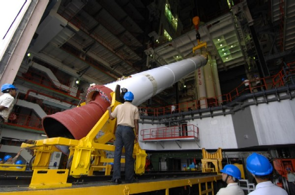 A strap-on booster for the PSLV C11 mission, which launched Chandrayaan 1 in 2008, being unloaded at the Vehicle Assembly Building. Credit: ISRO