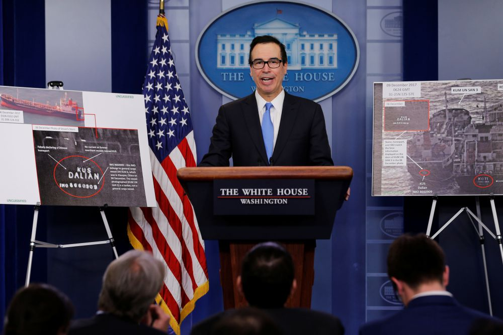 US Treasury Secretary Steven Mnuchin announces fresh North Korea-related sanctions in a bid to further isolate Pyongyang, in the press room at the White House in Washington on Friday. Credit: Reuters
