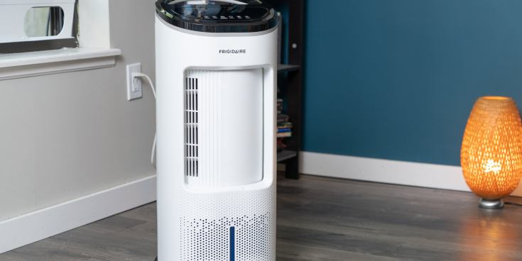 The Frigidaire EC200WF, one of the swamp coolers tested for this review, in a bedroom setting.