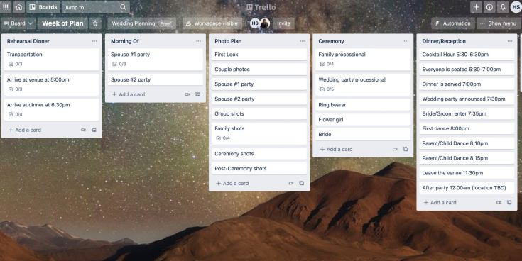 A screenshot of a customized Trello board showing columns for different subjects and stages of a planning process.