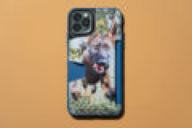 A custom image of a dog printed on the back of the Wallet Slayer Vo. 1 case.