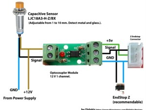 Diagram for capacitive sensor with optocoupler module by