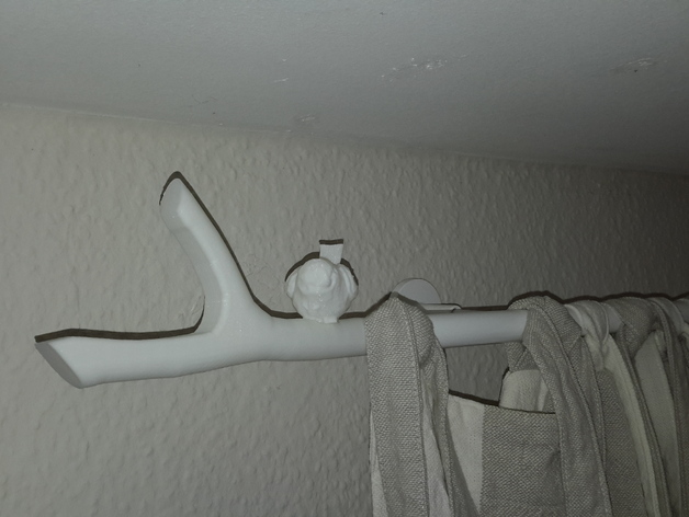 curtain rod end bird on a branch by