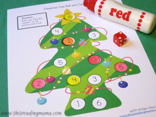 Christmas Math Games with Dice  FREE   roll and cover math game for Christmas